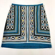 Ann Taylor Loft Mini Skirt Black Blue Multi Pencil Stretchy Size 4