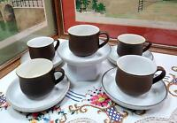 "5 DENBY ENAMEL BROWN & CREAM 2 1/2"" CUP AND SAUCER SETS 2000-2006"
