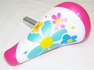 "KID'S BICYCLE SEAT W/ 22.2mm POST PINK FLOWER CRUISER BMX BIKES 12"" or 16"" bikes"