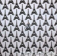 BonEful FABRIC Cotton Quilt White Black B&W Eiffel Tower Paris Girl Stripe SCRAP