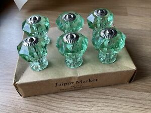 Jaipur Market Set Of 6 Decorative Cut Clear Green Tint Drawer Pull Knobs Handles
