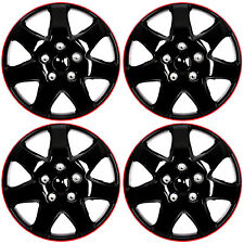 "4 Pc Set 15"" Ice Black & Red Hub Cap Full Lug Skin Rim Cover for OEM Steel Wheel"