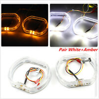 Pair Car Daytime Running Light With Turn Signal Light White + Amber 2.5Inch x 2