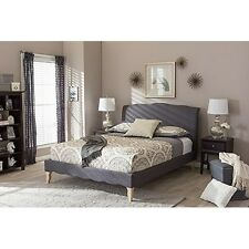 Fannie French Classic Modern Style Dark Grey Polyester Fabric Queen Platform Bed