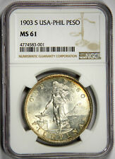 1903-S PESO USA PHILIPPINES ~ BRIGHT LUSTROUS BEAUTY ~ NGC MS61 UNCIRCULATED!