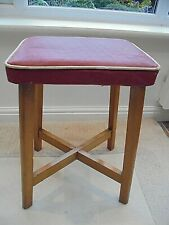 Vintage retro 1950s kitchen stool, red vinyl seat, white piping, solid beech