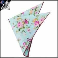 Blue Mint with Floral Pattern Pocket Square