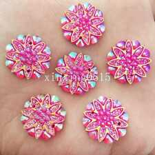 10pcs 18mm AB Resin flower Flat back Rhinestone Wedding 2 Hole buttons /Rose red