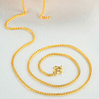 """New Solid 999 24k Yellow Gold Chain Women Men All-match Wheat Link Necklace 17""""L"""