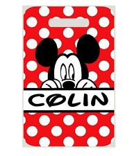 MICKEY MOUSE BAGTAG Personalized w/NAME & Info Luggage Backpacks 2 side print