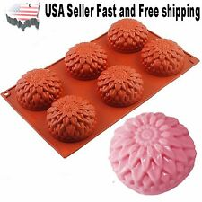 6 Cavity Flower Silicone DIY Handmade Soap Mold Chrysanthemum Sunflower USA
