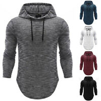 Men's Basic Casual Fit T-shirt Long Sleeve Hoodie Hooded Tops Shirts Slim Muscle