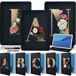 Initial Letter Leather Stand Case Cover For Huawei MediaPad T3 8.0/T3 10/T5 10