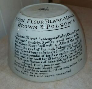 Vintage Antique Brown and Polson's Blanc-Mange Mould With Recipe