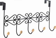 Aries negro y madera sobre la puerta 5 Ganchos Colgador organizador de espacio de cocina baño