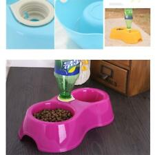 Bottle Cat Double Dishes Pet Feeder Dog Food Bowl Automatic Water Drinking