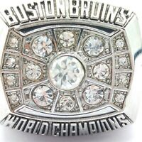 1972 Boston Bruins Orr Hockey Stanley Cup Silver Plated Championship Ring SZ 12