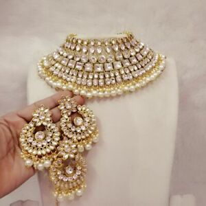 Indian Bollywood Style White Pearl Kundan Gold Fashion Bridal Necklace Set