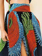 CHANTAL African Print Front Slit Full Length/Maxi Skirt 100% Wax Cotton Handmade