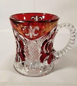 EAPG Bryce & Higbee Fleur de lis Ruby Stained Mug Circa 1898