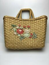 Woven Wicker Straw Large Floral Purse Tote Bag