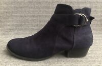 Unisa Unpiera Womens 8.5M Navy Blue Zip Ankle Boots Vegan Bootie Faux Suede flaw