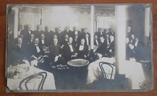 Vtg 1910s Gentlemen's Society Sepia Group Photograph Men Dine Tru Cross