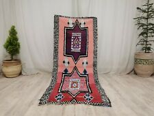 "Vintage Moroccan Tribal Handmade Rug 2'7""x6'5"" Berber Abstract Pink  Wool Carpet"