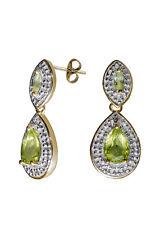 Ohrstecker 925er Silber vergoldet, Peridot und kleiner Diamant