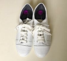 $175 REBECCA MINKOFF White Leather Studded Tennis Lace Up Sneakers Shoe Size 8.5