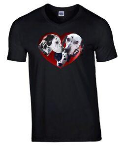 Dalmatian Dogs in Heart Tshirt, T-shirt V or Crew Neck Birthday Gift