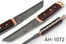 HAND FORGED DAMASCUS STEEL TANTO POINT HUNTING KNIFE & ROSE WOOD HANDLE AH-1072