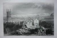 CARDIFF, WALES, original antique Victorian print, Finden, c.1841