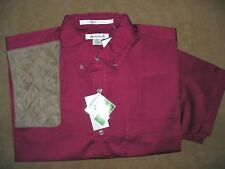 MEDIUM RH BROWN Microsuede Pad BURGANDY Short Sleeve Button Front Shooting Shirt