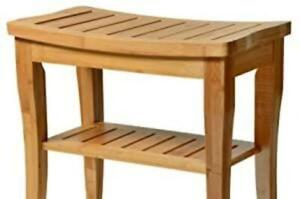Premium Bamboo Shower Bench with Shelf - Wooden 2-Tier Bathroom and Shoe