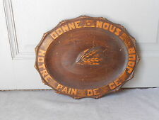 """Vintage french Carved Wood  BREAD BOARD """"Give Us Our Daily Bread"""""""