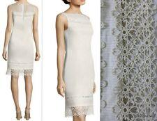 NWT ELIE TAHARI $368 Linen/Silk Pinstripe/Lace KALLISTA  Sheath Dress Size 0