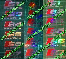 4 X AUDI S1 S3 S4 S5 S6 S7 QUATTRO LOGO WING MIRROR B PILLAR STICKERS OIL SLICK