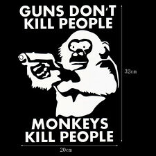 "White Car Sticker ""GUNS DON'T KILL PEOPLE MONKEYS"" PVC  Decal Window Bumper DIY"