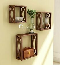Wooden Wall Shelf Wall Mounted Shelves for Living Room - Set of 3 (Brown)