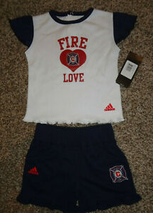 Chicago Fire Soccer MLS Kids Youth Outfit Shorts 18 MONTHS Girls SAMPLE HOLE NEW