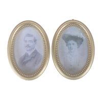 2Pcs/Set Dollhouse Miniature Victorian Gentleman Lady Picture Oval Photo Frame