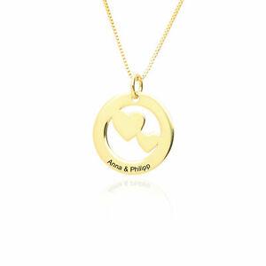 Namenskette Herzkette 925 Silber vergoldet inclusiv Gravur Vorder und Rückseite