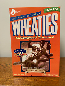 """JACKIE ROBINSON * 50th Anniversary * WHEATIES CEREAL COLLECTOR""""S EDITION * FULL"""