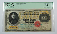 1900 $10000 Gold Certificate Currency PCGS VF 30 (Cancelled) Fr. 1225e Scarce