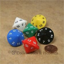 NEW 6 Large 20mm D16 16 Sided Game Dice Set - Six Opaque Colors D&D RPG