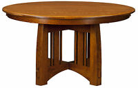 """Amish Mission Craftsman Round Pedestal Dining Table Solid Wood 48"""",54"""", 60"""""""