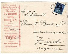 1897  ILLUSTRATED LONDON ADVERTISING COVER 3 GERMAN  FACTORIES ON BACK - RUBBER