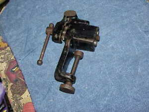 """Antique Clamp On Small Bench Vise 1.5"""" JAWS 2"""" OPENING 2"""" CLAMP RANGE WORKS FINE"""