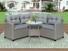 4pcs Rattan Furniture Set Outdoor Patio Garden Sectional Wicker Sofa W/cushions